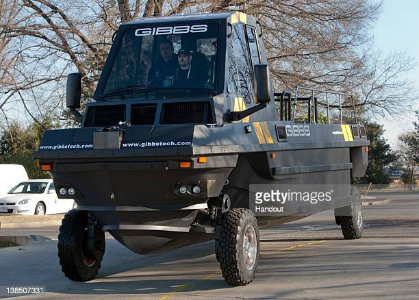 In this handout provided by Gibbs Amphibians The Phibian High Speed Amphitruck drives across land near the Potomac River February 7 2012 in...
