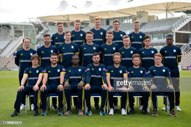 In this handout provided by Hampshire CCC the Hampshire CCC team for the 2019 season pose for a team photo during a photocall at The Ageas Bowl on...