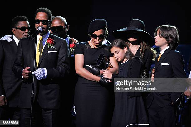 In this handout provided by Harrison Funk and Kevin Mazur, Jackie Jackson, Marlon Jackson, Randy Jackson, Janet Jackson, Paris Jackson, La Toya and...