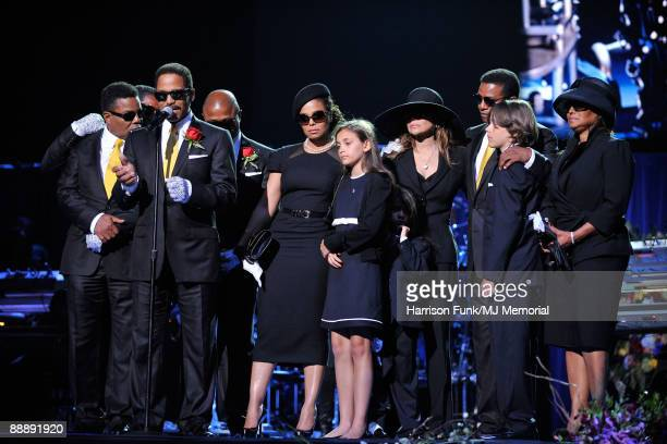 In this handout provided by Harrison Funk and Kevin Mazur Jackie Jackson Marlon Jackson Randy Jackson Janet Jackson Paris Jackson La Toya Jackson...