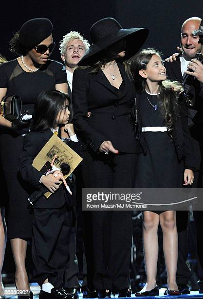 In this handout provided by Harrison Funk and Kevin Mazur Janet Jackson Prince Michael Jackson II La Toya Jackson and Paris Jackson attend Michael...