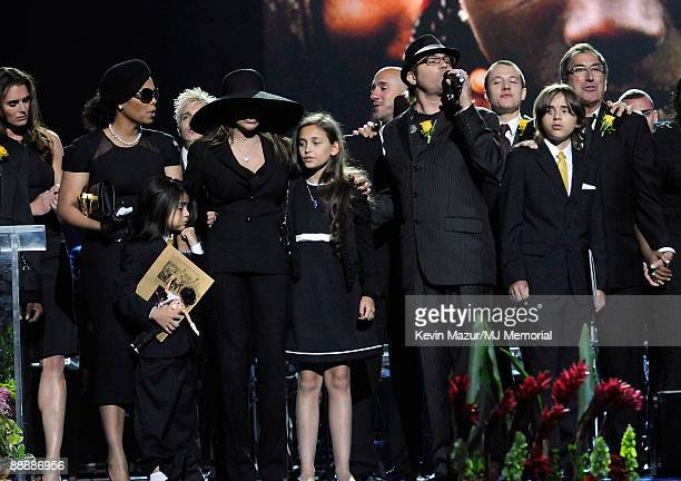 In this handout provided by Harrison Funk and Kevin Mazur Janet Jackson Prince Michael Jackson II La Toya Jackson Paris Jackson Prince Michael...