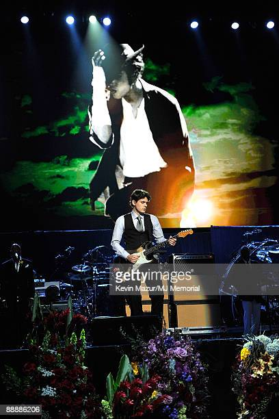 In this handout provided by Harrison Funk and Kevin Mazur musician John Mayer attends Michael Jackson's Public Memorial Service held at Staples...