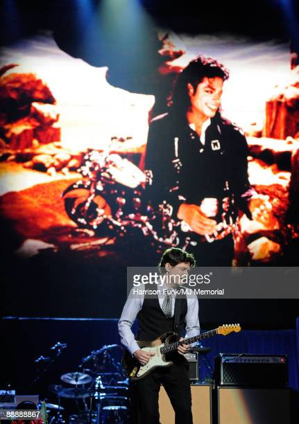 In this handout provided by Harrison Funk and Kevin Mazur musician John Mayer performs at Michael Jackson's Public Memorial Service held at Staples...