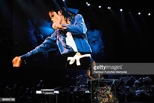 In this handout provided by Harrison Funk and Kevin Mazur actress/singer Queen Latifah speaks at Michael Jackson's Public Memorial Service held at...
