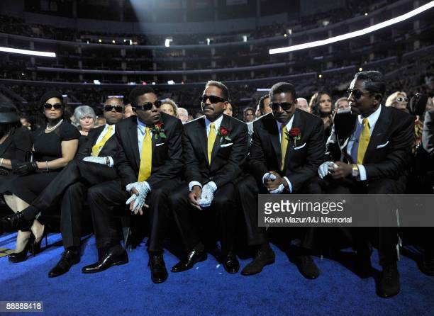 In this handout provided by Harrison Funk and Kevin Mazur, Rebbie Jackson, Janet Jackson, Randy Jackson, Tito Jackson, Marlon Jackson, Jackie Jackson...