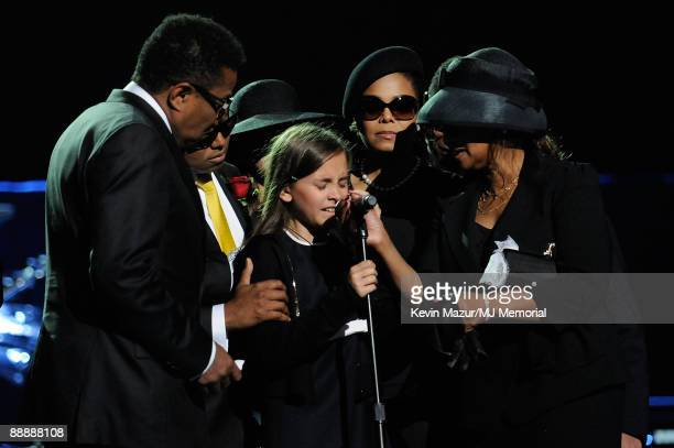 In this handout provided by Harrison Funk and Kevin Mazur, Tito Jackson, Randy Jackson, Paris Jackson, Janet Jackson and Rebbie Jackson attend...