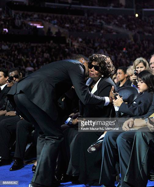 In this handout provided by Harrison Funk and Kevin Mazur Usher Katherine Jackson adn Prince Michael Jackson II attend Michael Jackson's Public...
