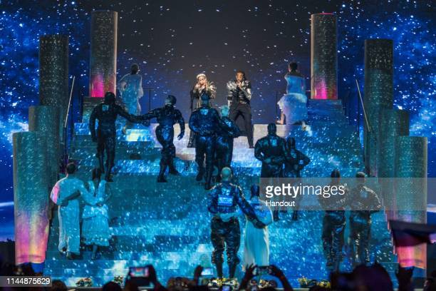 In this Handout provided by ID PR Madonna performs live on stage during the 64th annual Eurovision Song Contest held at Tel Aviv Fairgrounds on May...