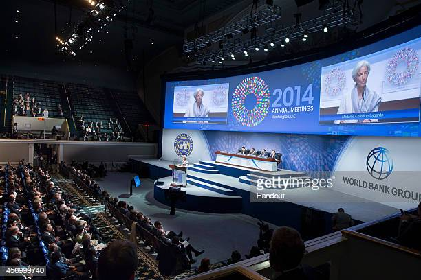 In this handout provided by International Monetary Fund IMF Managing Director Christine Lagarde speaks during the IMFWorld Bank Group annual meeting...