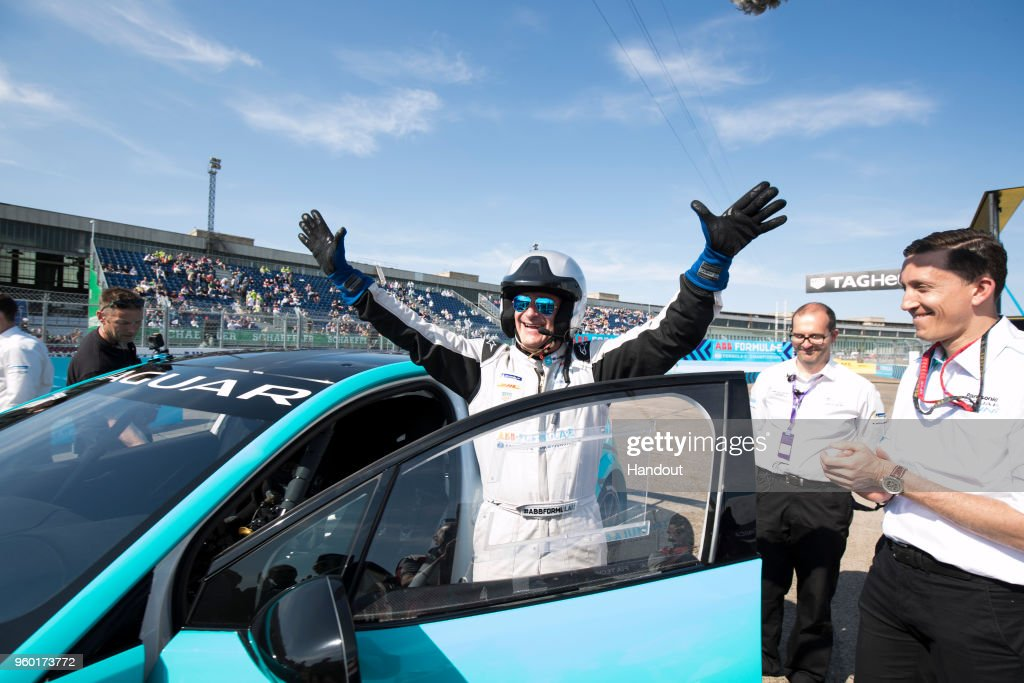 In this handout provided by Jaguar Panasonic Racing Global debut of the Jaguar i-Pace eTrophy, driven by Alejandro Agag, CEO, Formula E. during the Berlin E-Prix in the Paris ePrix, Round 9 of the 2017/18 FIA ABB Formula E Series at at Tempelhof Airport on May 19, 2018 in Berlin, Germany.
