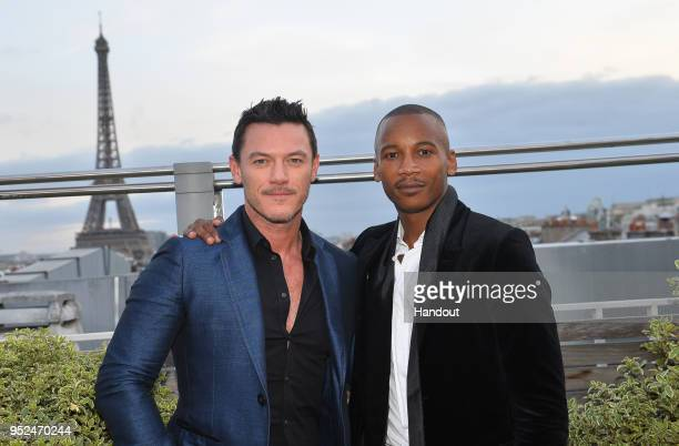 In this handout provided by Jaguar Racing Actor Luke Evans and ballet dancer Eric Underwood during the Paris ePrix Round 8 of the 2017/18 FIA Formula...