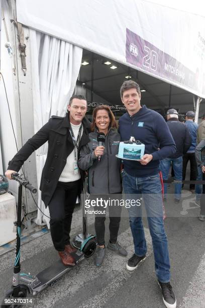 In this handout provided by Jaguar Racing Actor Luke Evans with Amanda Stretton and Vernon Kaye during the Paris ePrix Round 8 of the 2017/18 FIA...