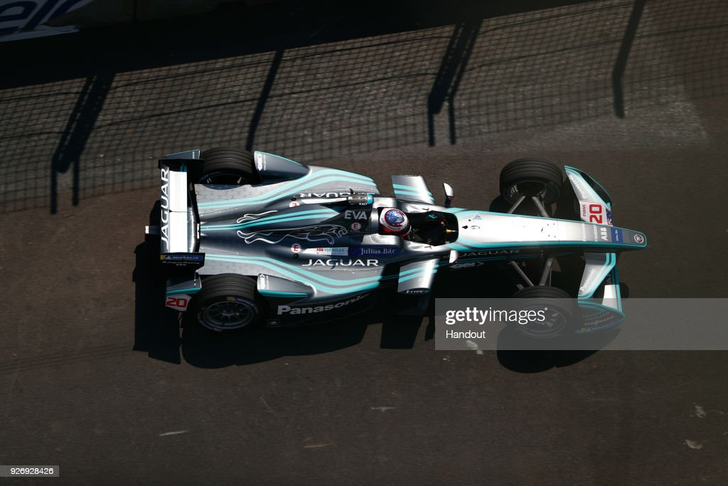 In this handout provided by Jaguar Racing, Mitch Evans (NZL), Panasonic Jaguar Racing, Jaguar I-Type II in action during the Mexico City ePrix, Round 5 of the 2017/18 FIA Formula E Series on March 3, 2018 at Autodromo Hermanos Rodriguez in Mexico City, Mexico.