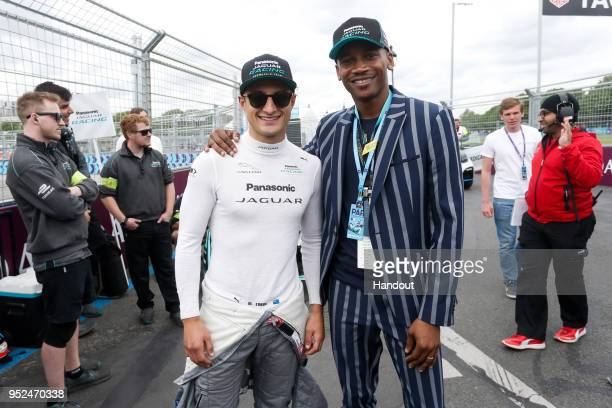 In this handout provided by Jaguar Racing Mitch Evans Panasonic Jaguar Racing Jaguar IType II with ballet dancer Eric Underwood on the grid during...