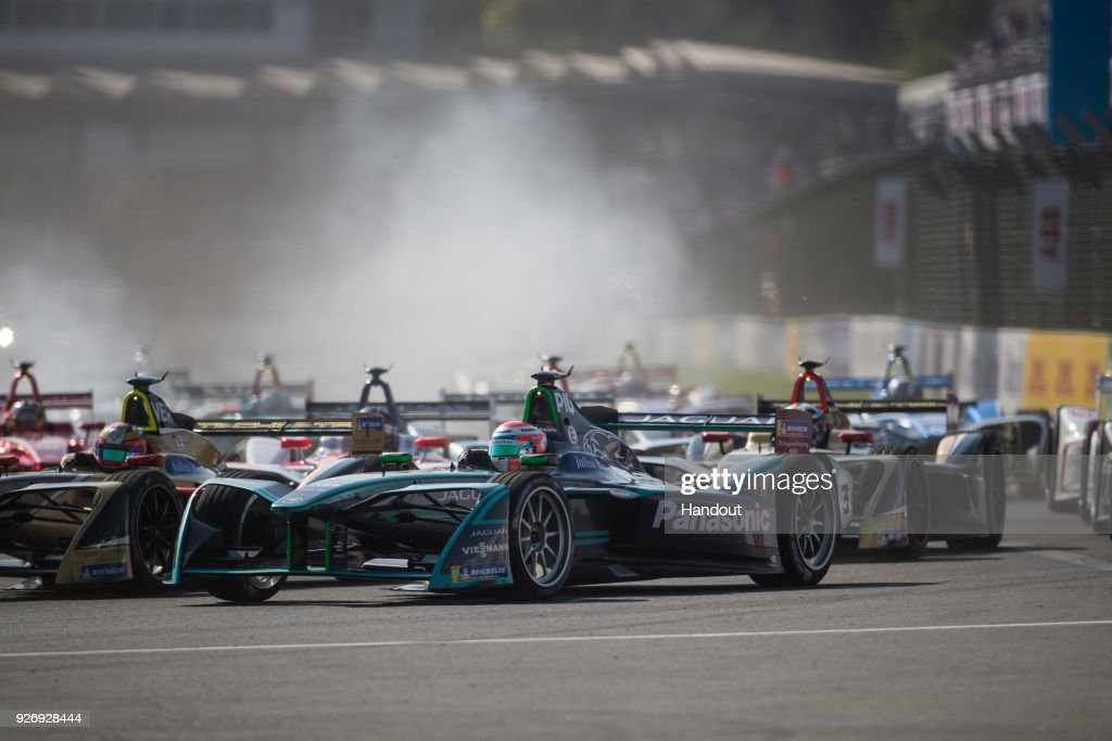In this handout provided by Jaguar Racing, Nelson Piquet Jr. (BRA), Panasonic Jaguar Racing, Jaguar I-Type II during the Mexico City ePrix, Round 5 of the 2017/18 FIA Formula E Series on March 3, 2018 at Autodromo Hermanos Rodriguez in Mexico City, Mexico.