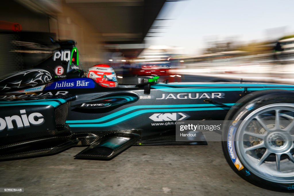 In this handout provided by Jaguar Racing, Nelson Piquet Jr. (BRA), Panasonic Jaguar Racing, Jaguar I-Type II, leaves the garage during the Mexico City ePrix, Round 5 of the 2017/18 FIA Formula E Series on March 3, 2018 at Autodromo Hermanos Rodriguez in Mexico City, Mexico.