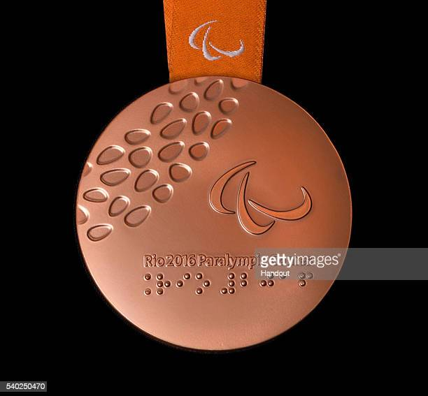 In this handout provided by Jogos Rio 2016 the back of the bronze medal for the 2016 Paralympics which follows the Summer Olympics is shown shown...