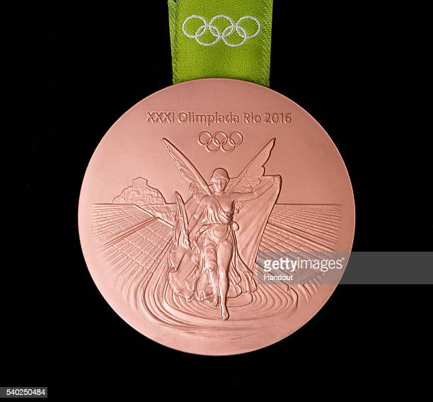 In this handout provided by Jogos Rio 2016 the back of the bronze medal for the 2016 Summer Olympics is shown June 8 2016 in Rio de Janeiro Brazil