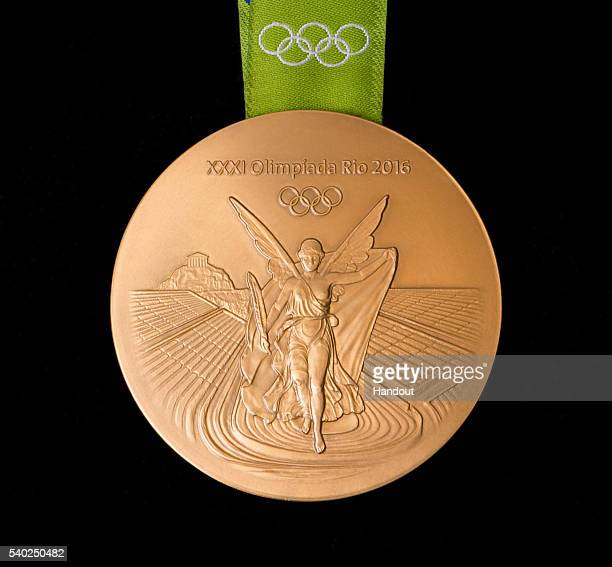 In this handout provided by Jogos Rio 2016, the back of the gold medal for the 2016 Summer Olympics is shown June 8, 2016 in Rio de Janeiro, Brazil.