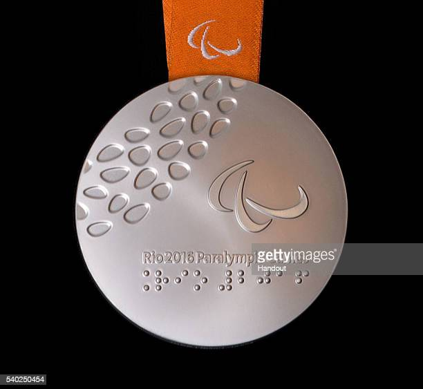 In this handout provided by Jogos Rio 2016 the back of the silver medal for the 2016 Paralympics which follows the Summer Olympics is shown shown...
