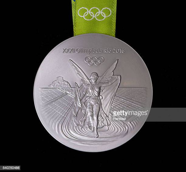In this handout provided by Jogos Rio 2016 the back of the silver medal for the 2016 Summer Olympics is shown June 8 2016 in Rio de Janeiro Brazil