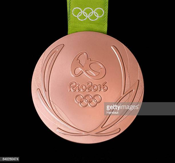In this handout provided by Jogos Rio 2016 the front of the bronze medal for the 2016 Summer Olympics is shown June 8 2016 in Rio de Janeiro Brazil