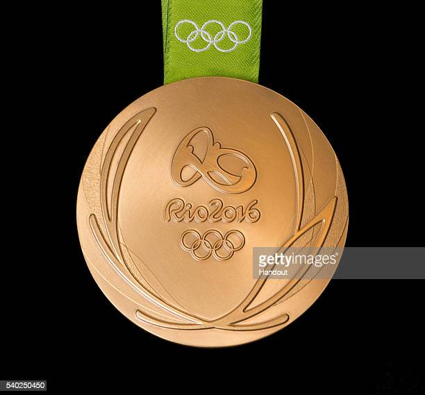 In this handout provided by Jogos Rio 2016 the front of the gold medal for the 2016 Summer Olympics is shown June 8 2016 in Rio de Janeiro Brazil