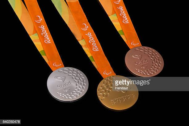 In this handout provided by Jogos Rio 2016 the gold silver and bronze medals for the 2016 Paralympics which follows the Summer Olympics are shown...