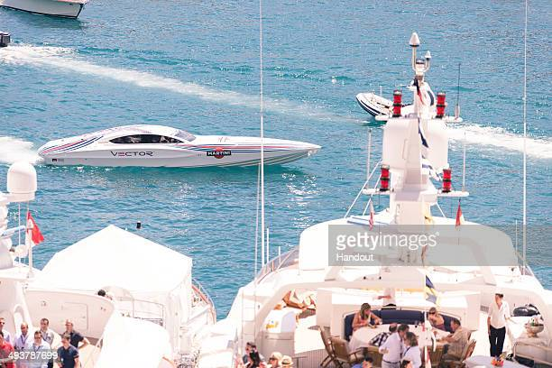 In this handout provided by Martini Vector MARTINI Powerboat arriving in Monaco Bay on qualifying day at the Monaco Grand Prix at the MARTINI party...
