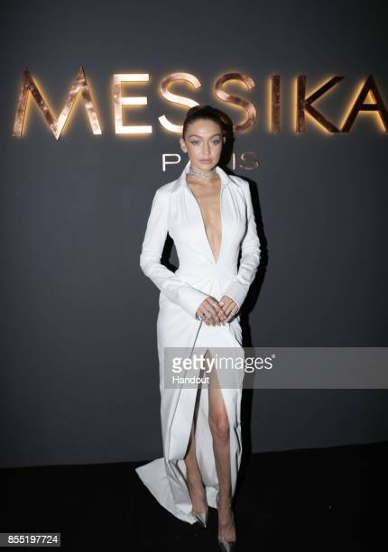 In this handout provided by Messika Gigi Hadid attends the Messika cocktail as part of the Paris Fashion Week Womenswear Spring/Summer 2018 on...