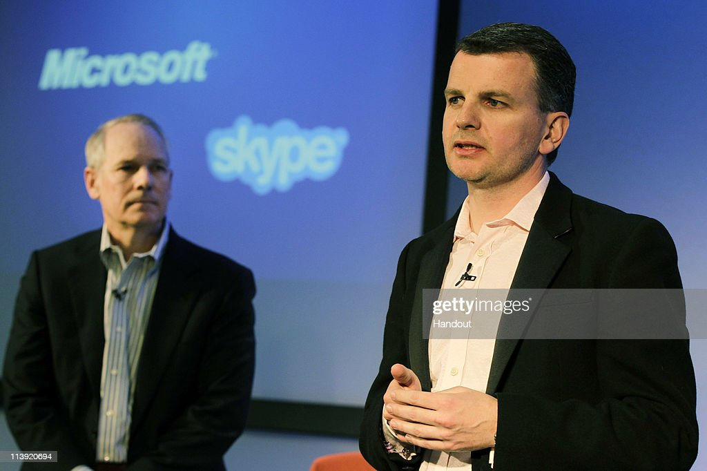 In this handout provided by Microsoft, Kurt DelBene, President of Microsoft Office Division, left, and Neil Stevens, Vice President and General Manager of Skype Global Consumer attend a news conference about Microsoft's purchase of Skype on May 10, 2011 in London, England, Microsoft has agreed to buy Skype for $8.5 billion.