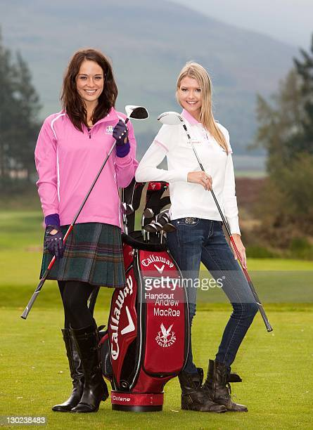 In this handout provided by Miss World Ltd, Miss Scotland Jennifer Reoch with Miss USA Erin Cummins during a golf lesson on the Gleneagles golf...