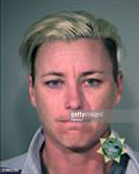 In this handout provided by Multnomah County Sheriff's Office former soccer star Abby Wambach poses for a mugshot photo after being arrested on a on...