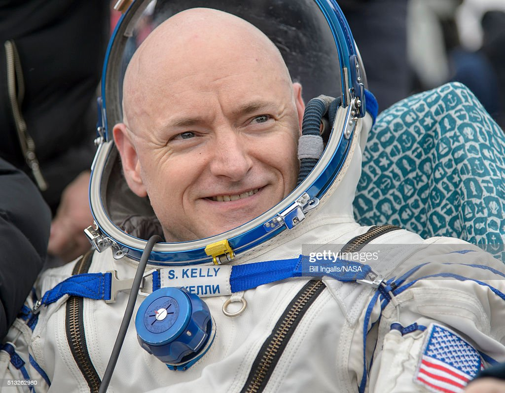 In this handout provided by NASA, Expedition 46 Commander Scott Kelly of NASA rest in a chair outside of the Soyuz TMA-18M spacecraft just minutes after he and Russian cosmonauts Mikhail Kornienko and Sergey Volkov of Roscosmos landed in a remote area on March 2, 2016 near the town of Zhezkazgan, Kazakhstan. Kelly and Kornienko completed an International Space Station record year-long mission to collect valuable data on the effect of long duration weightlessness on the human body that will be used to formulate a human mission to Mars. Volkov returned after spending six months on the station.