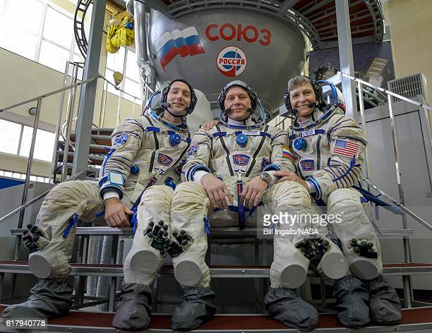 In this handout provided by NASA Expedition 50 crew members ESA astronaut Thomas Pesquet Russian cosmonaut Oleg Novitskiy of Roscosmos and NASA...