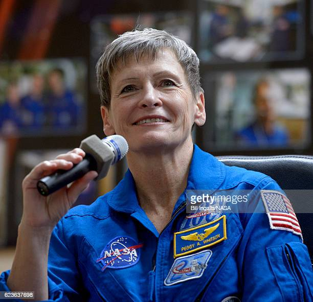In this handout provided by NASA Expedition 50 ESA astronaut Peggy Whitson of NASA is seen in quarantine behind glass during a crew press conference...