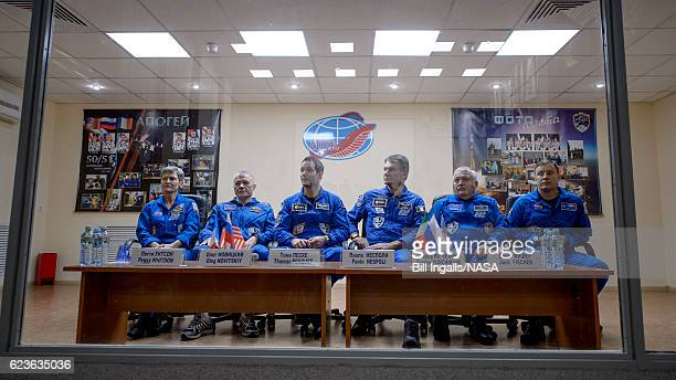 In this handout provided by NASA Expedition 50 ESA astronauts Peggy Whitson of NASA Russian cosmonaut Oleg Novitskiy of Roscosmos ESA astronaut...
