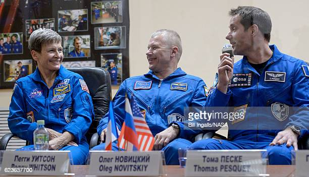 In this handout provided by NASA Expedition 50 ESA astronauts Peggy Whitson of NASA Russian cosmonaut Oleg Novitskiy of Roscosmos and ESA astronaut...