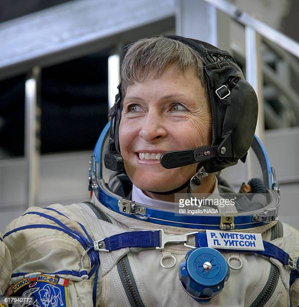 In this handout provided by NASA Expedition 50 NASA astronaut Peggy Whitson smiles as she listens to a reporter's question ahead of the final...