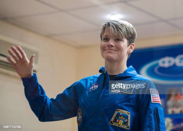 In this handout provided by NASA Expedition 58 Flight Engineer Anne McClain of NASA waves during a press conference on December 2 2018 at the...