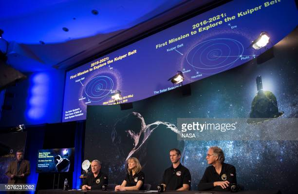 In this handout provided by NASA New Horizons principal investigator Alan Stern of the Southwest Research Institute Boulder CO left New Horizons...