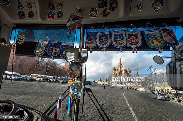 In this handout provided by NASA Saint Basil's Cathedral is seen through the front window of the bus carrying Expedition 47 crew members NASA...