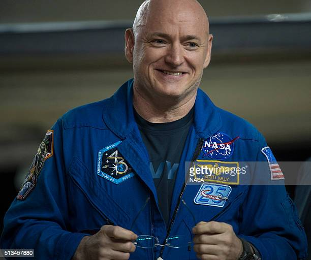 In this handout provided by NASA Scott Kelly of NASA is seen as he arrives after landing at Ellington Field after his return to Earth on March 3 2016...