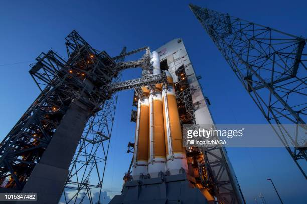 In this handout provided by NASA The Mobile Service Tower is rolled back to reveal the United Launch Alliance Delta IV Heavy rocket with the Parker...