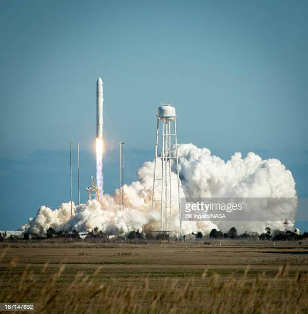 In this handout provided by NASA The Orbital Sciences Corporation Antares rocket launches from the NASA Wallops Flight Facility on April 21 2013 in...
