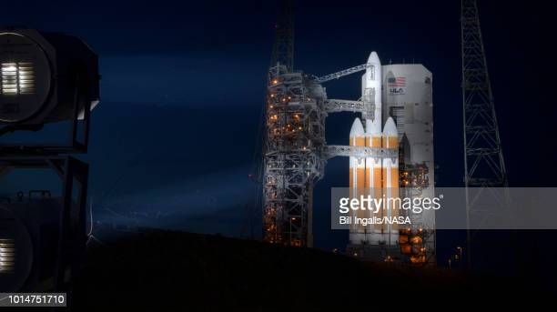 In this handout provided by NASA The United Launch Alliance Delta IV Heavy rocket with the Parker Solar Probe onboard is seen shortly after the...
