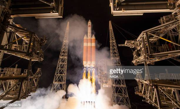 In this handout provided by NASA The United Launch Alliance Delta IV Heavy rocket launches NASA's Parker Solar Probe to touch the Sun from Launch...