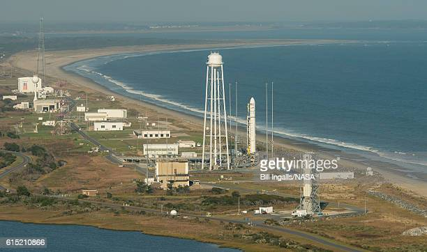 In this handout provided by NASAAerial photograph showing the Orbital ATK Antares rocket with the Cygnus spacecraft onboard on launch Pad0A on...