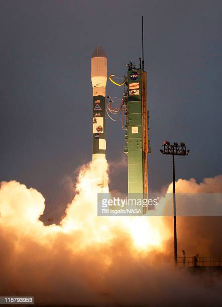 In this handout provided by National Aeronautics and Space Administration A Delta II rocket launches with the Aquarius/SACD spacecraft payload from...
